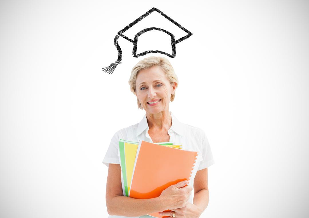 Digital composition of senior woman holding files with graduation cap in background
