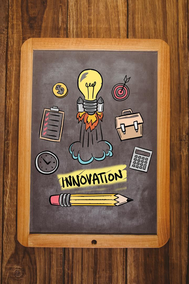 Digital composite of innovation graphic on chalkboard Free Stock Images from PikWizard