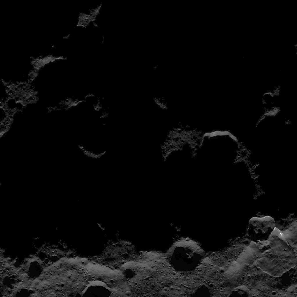 This image, taken by NASA's Dawn spacecraft, shows the surface of dwarf planet Ceres from an altitude of 915 miles (1,470 kilometers). The image, with a resolution of 450 feet (140 meters) per pixel, was taken on August 25, 2015.  http://photojournal.jpl.nasa.gov/catalog/PIA19895