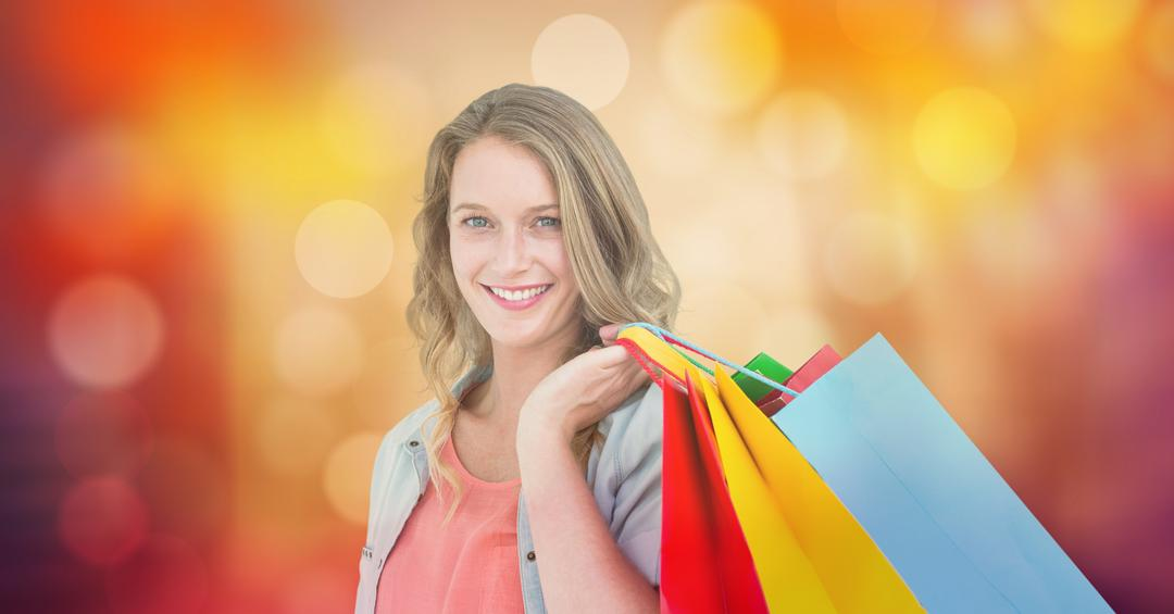 Digital composite of Portrait of smiling woman holding shopping bags