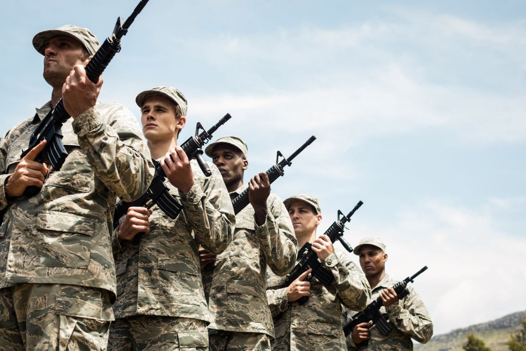 Group of military soldiers standing with rifles at boot camp Free Stock Images from PikWizard