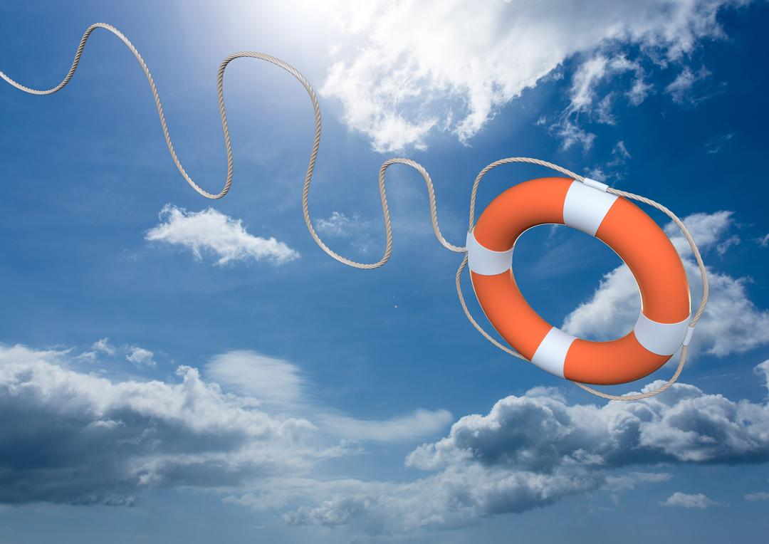 Digital composite of lifebuoy thrown in mid-air against cloud and sky background