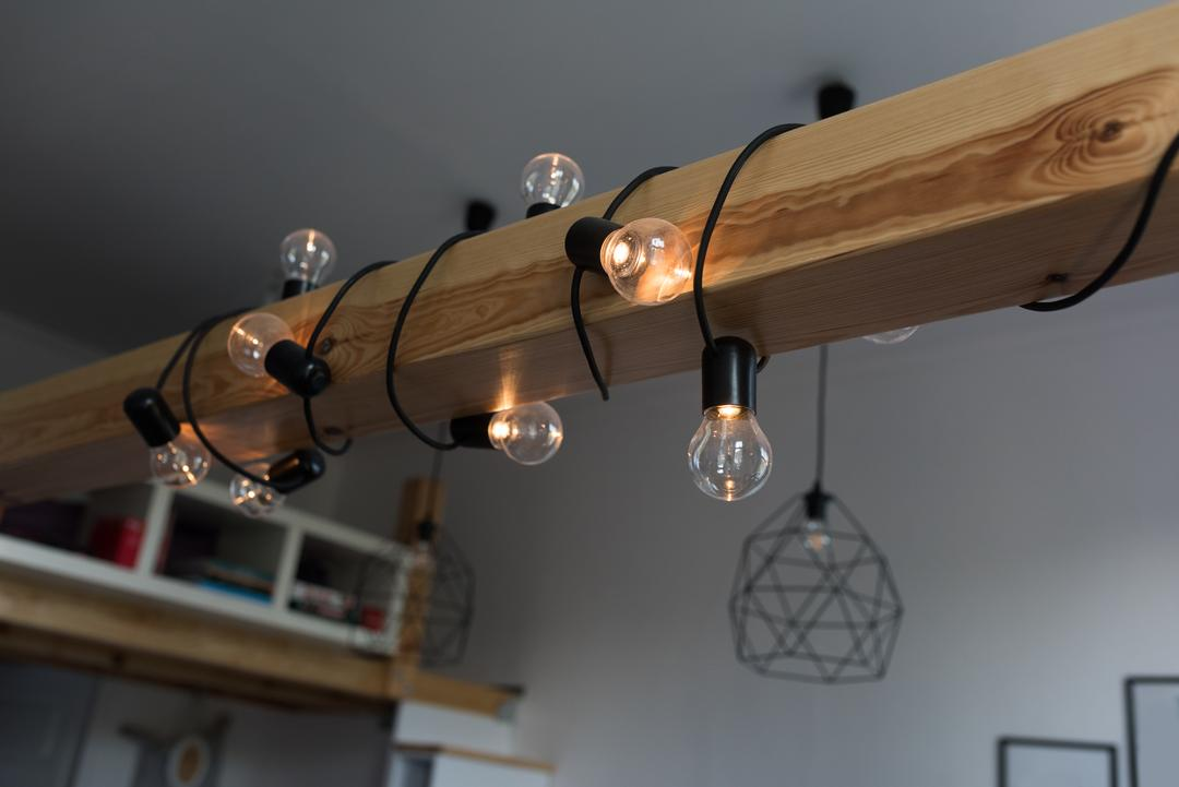 Lights bulb wrapped on a wooden bar at home