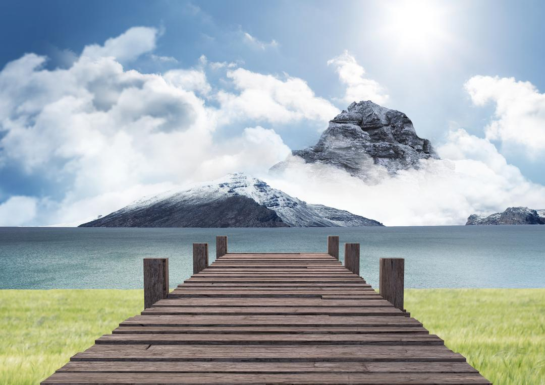 Composite image of wooden pier and mountains