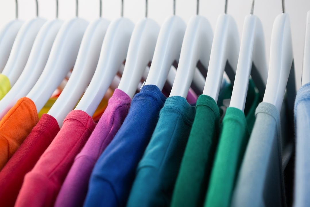 Image of Colorful Shirts on Clothes Hangers