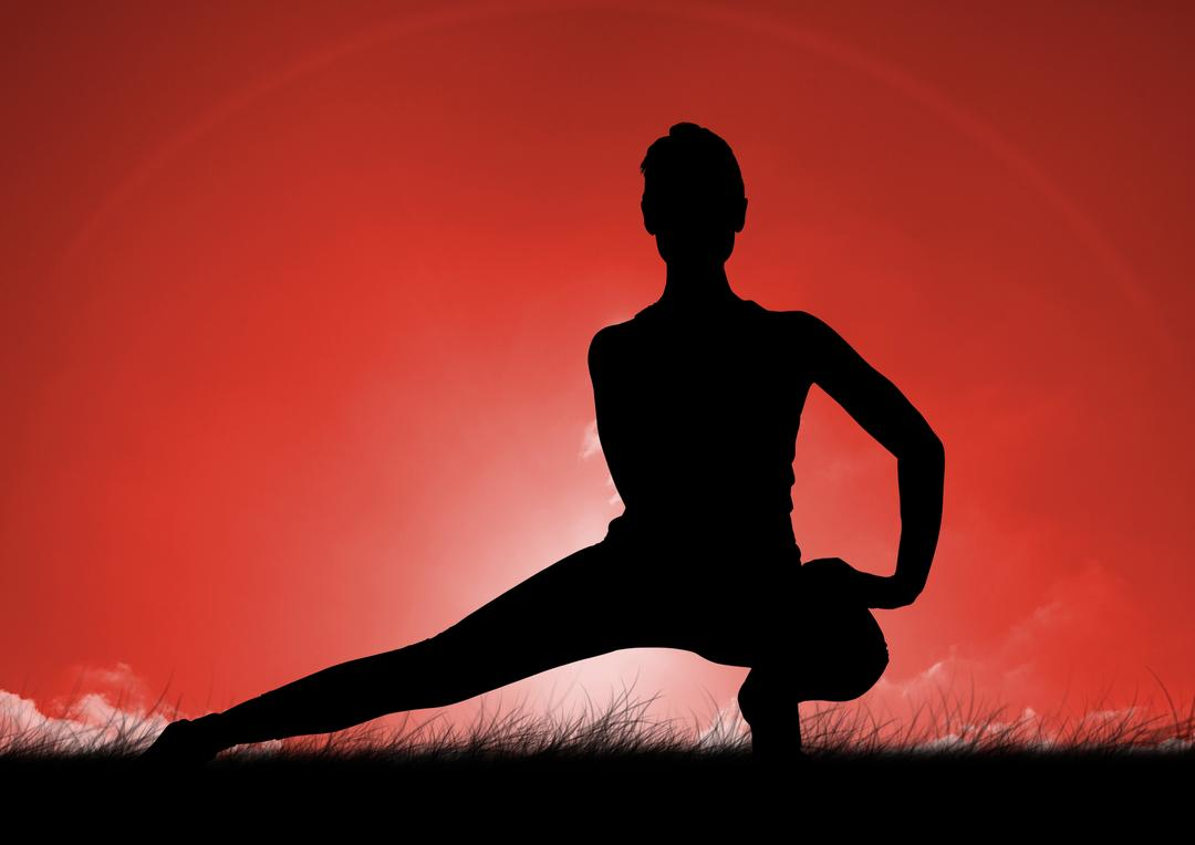 Digital composition of silhouette of woman stretching while practicing yoga on grass