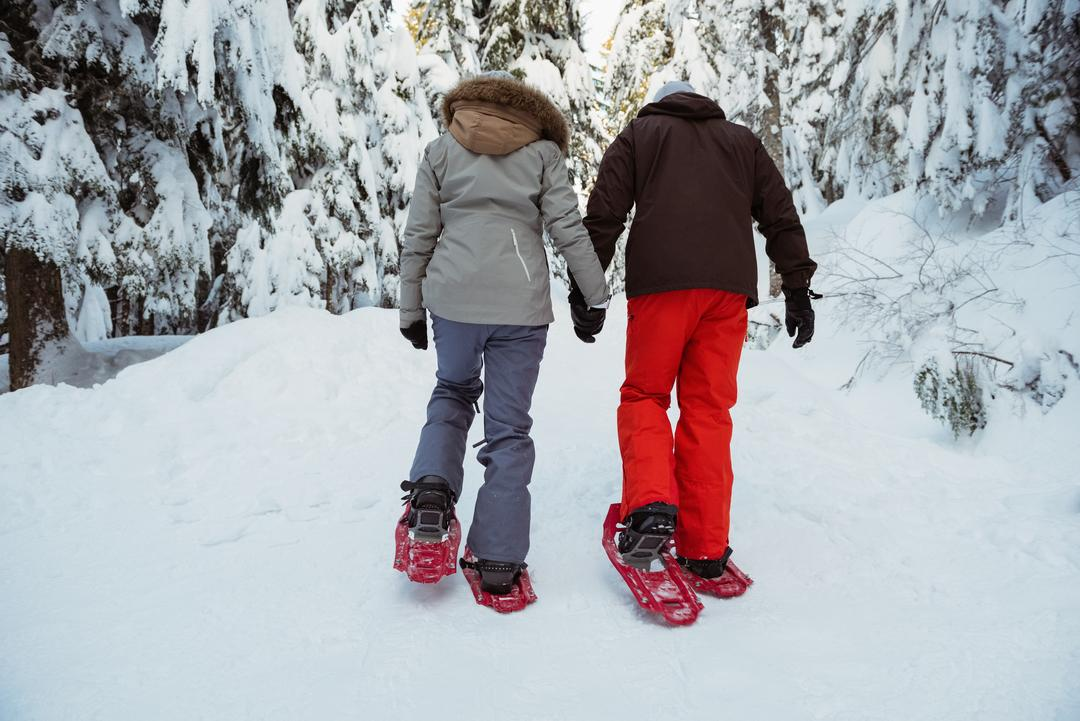 Rear view of skier couple walking on snow covered mountain