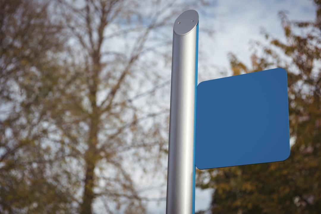 Close-up of blue blank placard on street