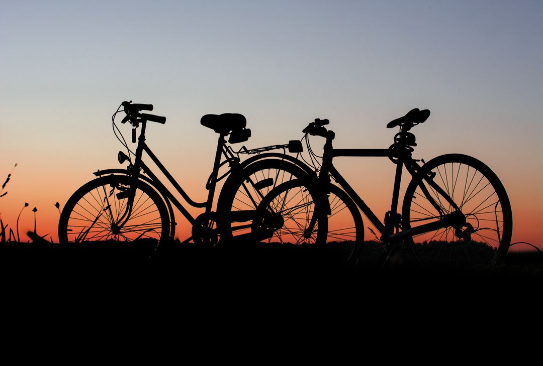 Bicycles bikes cyclist dawn