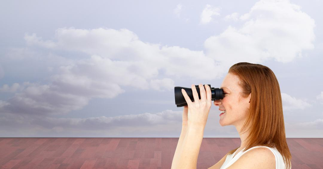 Digital composite of Side view of woman using binoculars against sky Free Stock Images from PikWizard