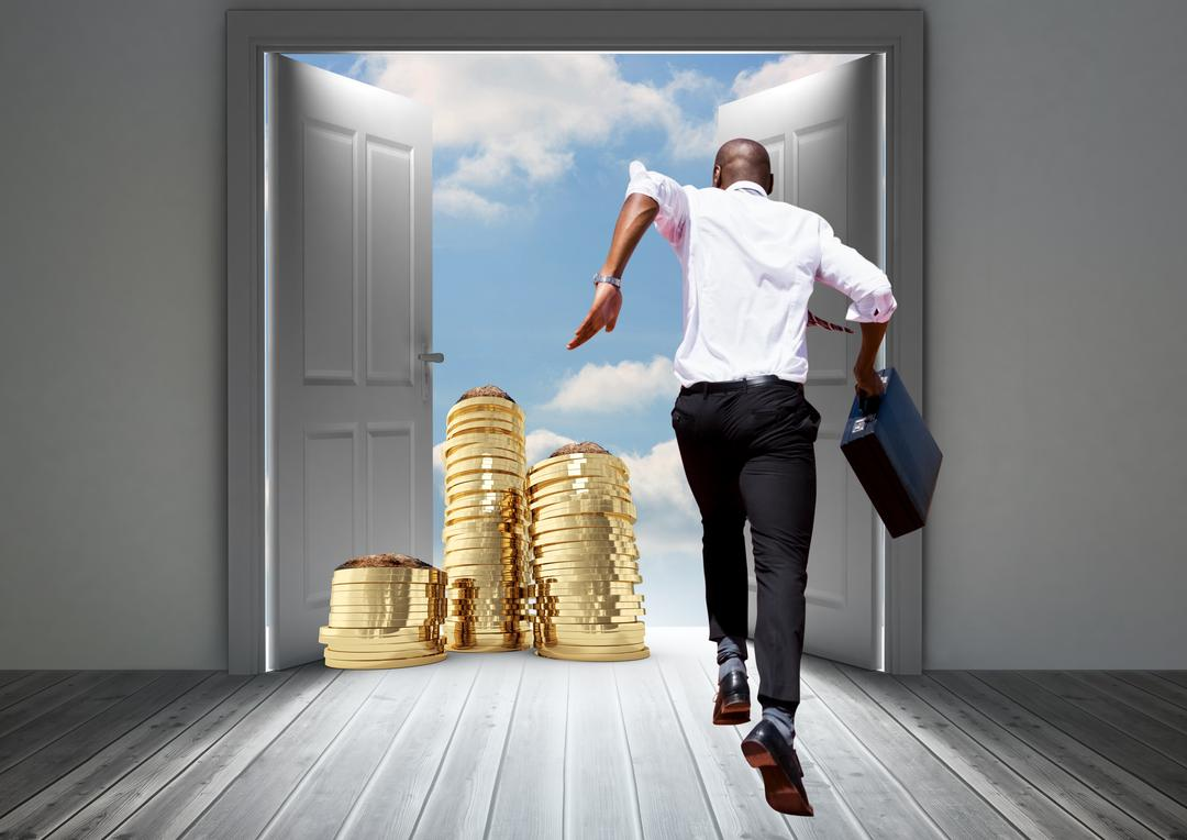 Digital composite image of businessman holding briefcase and running