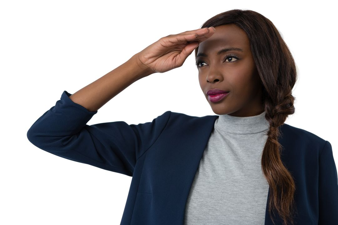 Close up of businesswoman shielding eyes
