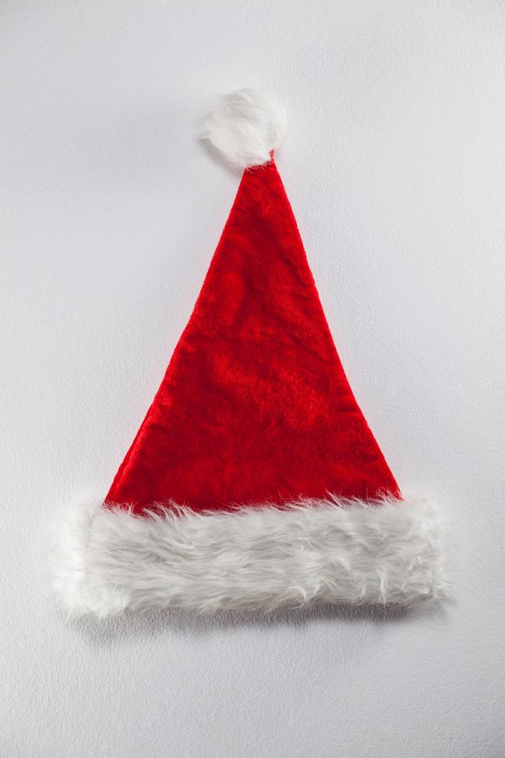 Close-up of santa hat on white background