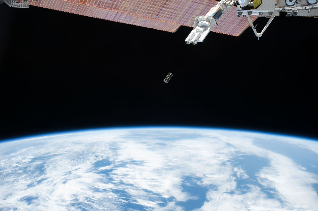 ISS045E014236 (09/17/2015) – A Japanese Small Satellite is deployed from outside the Japanese Experiment Module on Sept. 17, 2015. Two satellites were sent into Earth orbit by the Small Satellite Orbital Deployer. The first satellite is designed to observe the Ultraviolet (UV) spectrum during the Orionid meteor shower in October.  The second satellite, sponsored by the University of Brasilia and the Brazilian government, focuses on meteorological data collection.
