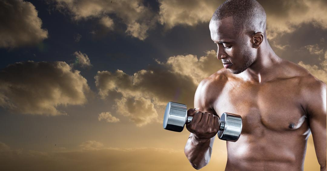 Digital composition of athlete doing workout with dumbbell against sky background