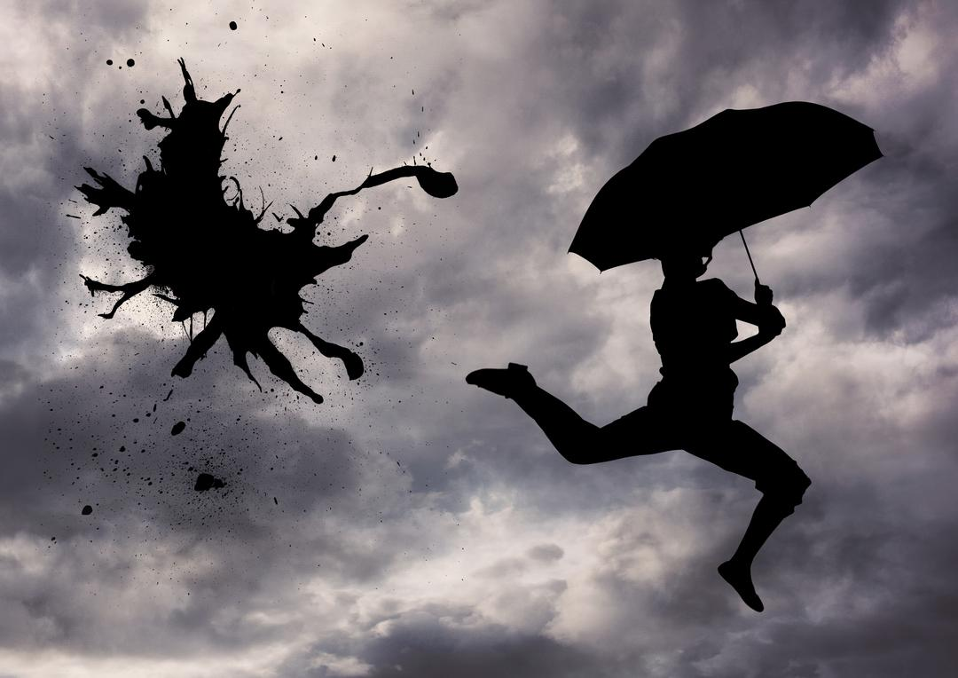 Digital composite image of silhouette person jumping with an umbrella on stormy weather