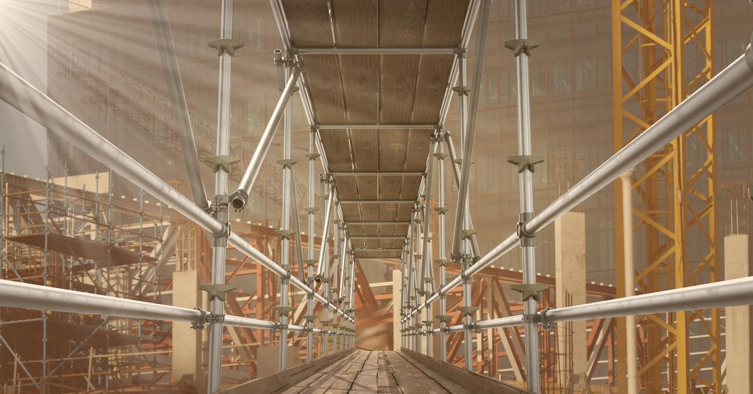Digital composite of Inside of 3D scaffolding Free Stock Images from PikWizard