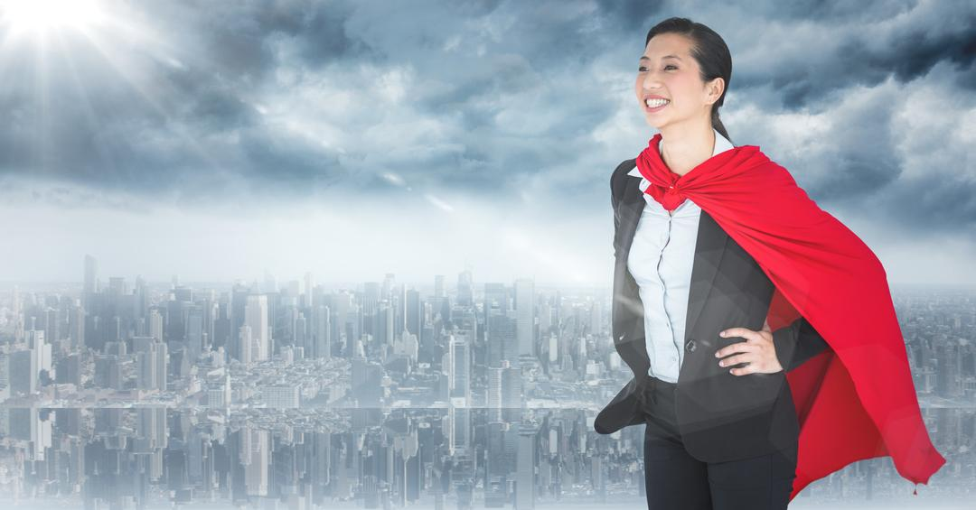 Digital composite of Business woman superhero with hands on hips against skyline and flare