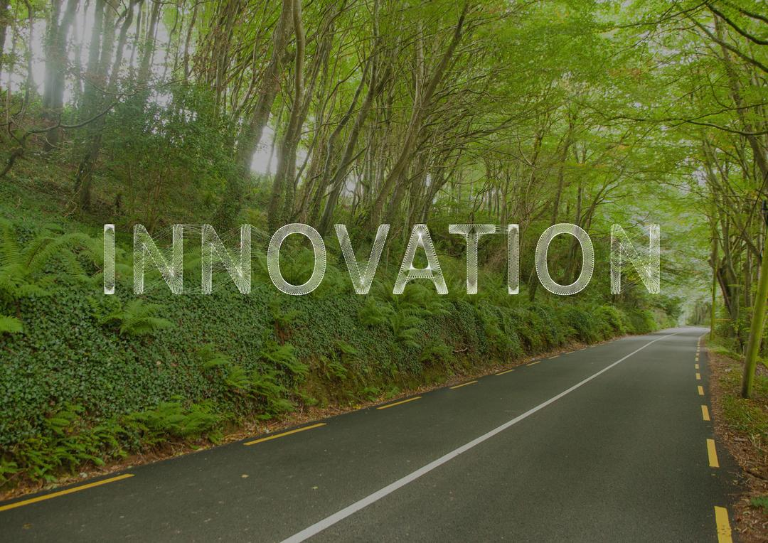 Digital composite image of empty country road and text innovation