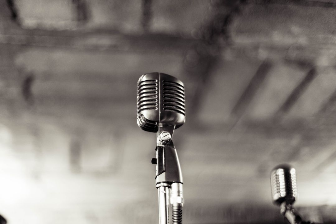 Grey Image of a Microphone