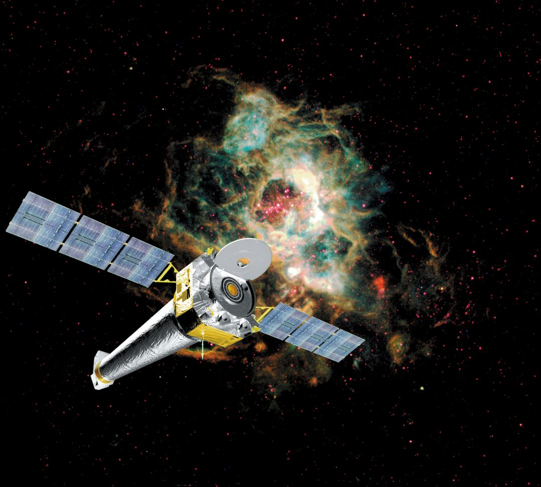 This is a computer rendering of the fully developed Chandra X-ray Observatory (CXO), formerly Advanced X-Ray Astrophysics Facility (AXAF), in orbit in a star field. In 1999, the AXAF was renamed the CXO in honor of the late Indian-American Novel Laureate Subrahmanyan Chandrasekhar. The CXO is the most sophisticated and the world's most powerful x-ray telescope ever built. It is designed to observe x-rays from high energy regions of the Universe, such as hot gas in the renmants of exploded stars. It produces picture-like images of x-ray emissions analogous to those made in visible light, as well as gathers data on the chemical composition of x-ray radiating objects. The CXO helps astronomers world-wide better understand the structure and evolution of the universe by studying powerful sources of x-rays such as exploding stars, matter falling into black holes, and other exotic celestial objects. The Observatory has three major parts: (1) the x-ray telescope, whose mirrors will focus x-rays from celestial objects; (2) the science instruments that record the x-rays so that x-ray images can be produced and analyzed; and (3) the spacecraft, which provides the environment necessary for the telescope and the instruments to work. TRW, Inc. was the prime contractor for the development of the CXO and NASA's Marshall Space Flight Center was responsible for its project management. The Smithsonian Astrophysical Observatory controls science and flight operations of the CXO for NASA from Cambridge, Massachusetts. The Observatory was launched July 22, 1999 aboard the Space Shuttle Columbia, STS-93 mission. (Image courtesy of TRW).