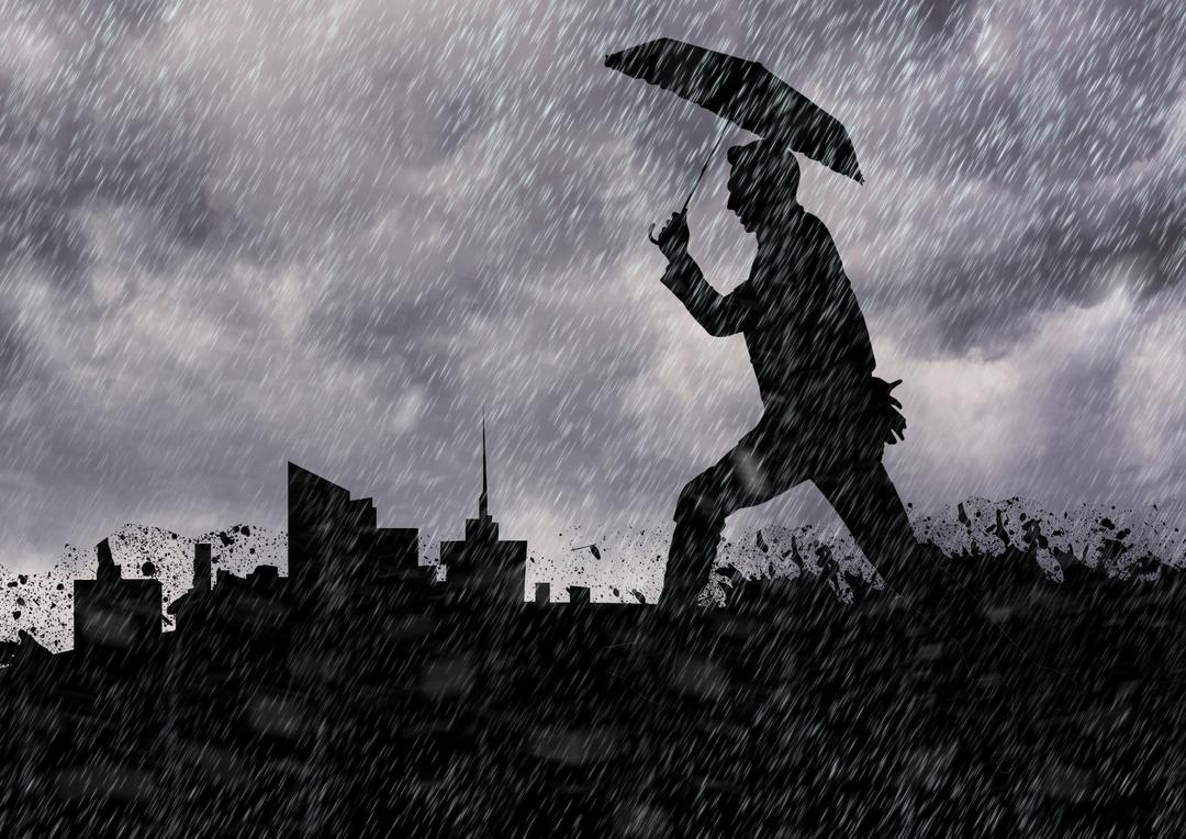 Digitally generated image of man silhouette holding an umbrella against cityscape