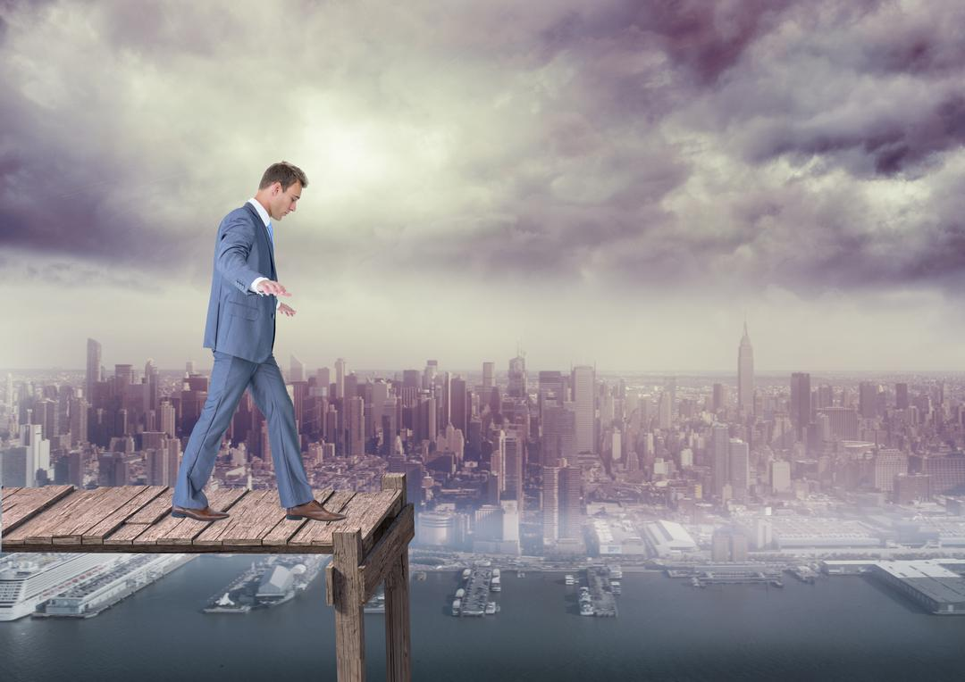 Digital composition of businessman walking over a wooden bridge with cityscape in the background Free Stock Images from PikWizard