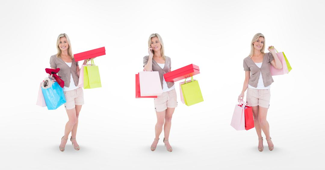 Digital composite of Multiple image of shopaholic woman over white background