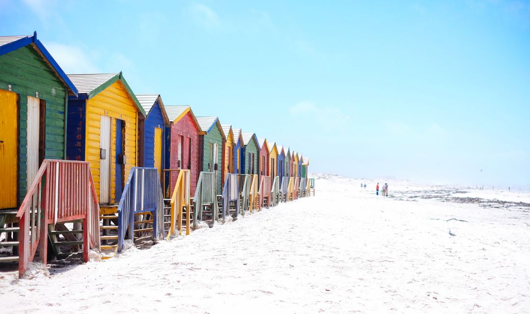 Image of the Beach with Colorful Little Houses