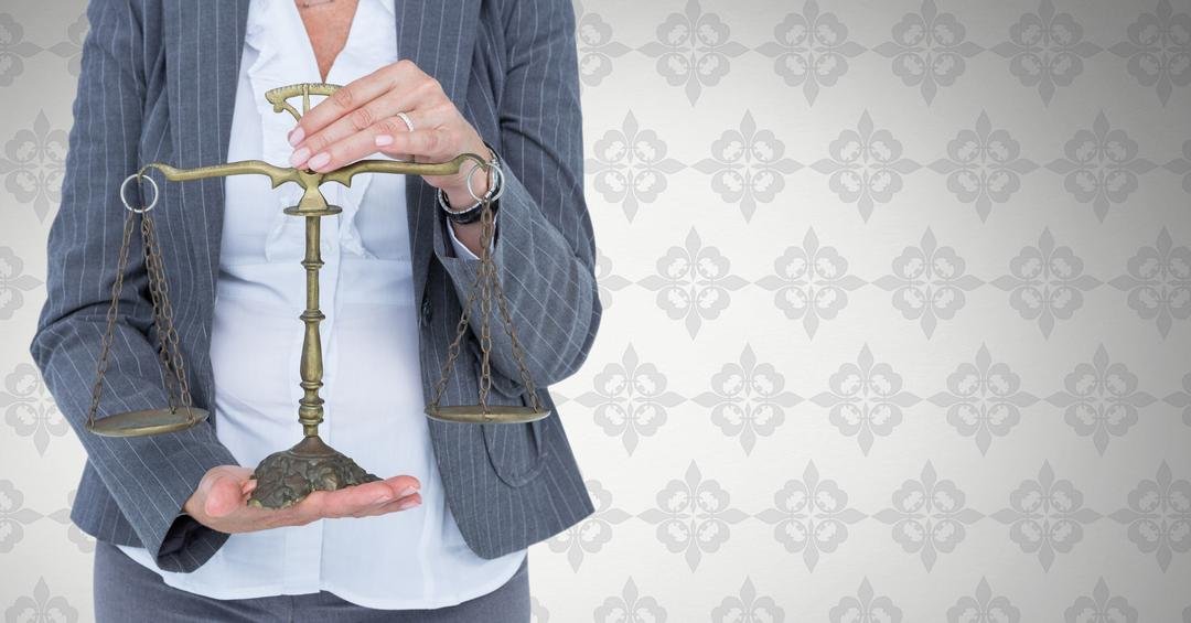 Digital composite of Judge with balance scale in front of wallpaper