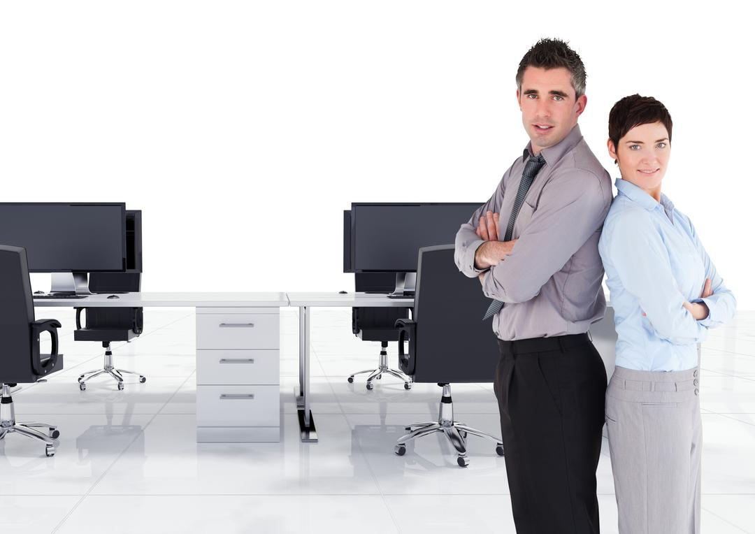 Digital composite image of male and female executive standing back to back with arms crossed in office