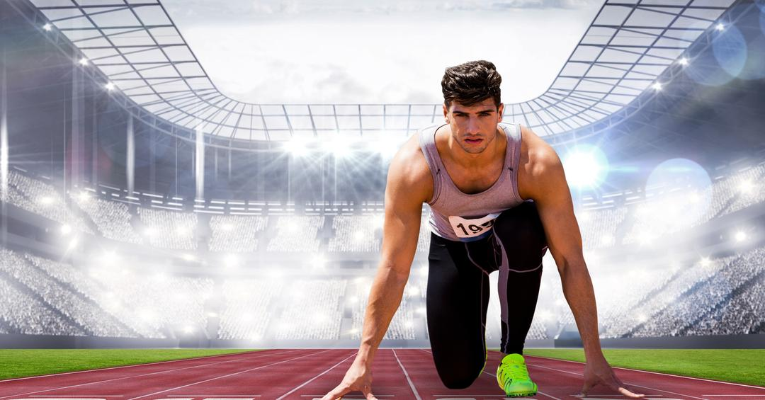 Digital composite of Sport runner on start position in stadium