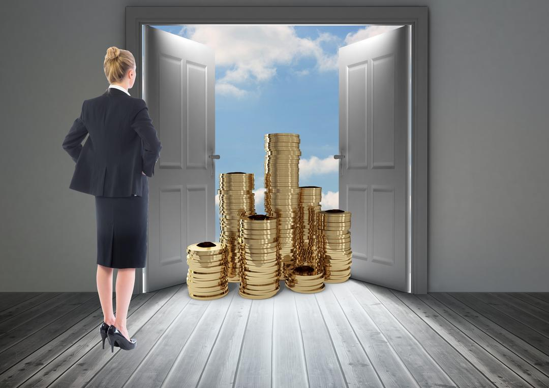 Digital composite image of businesswoman looking at stack of coins