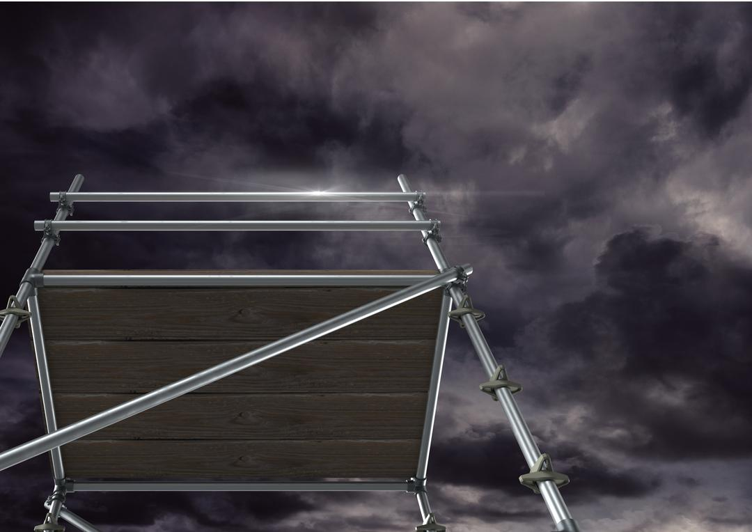 Digital composite of Dark clouds with 3D Scaffolding Free Stock Images from PikWizard