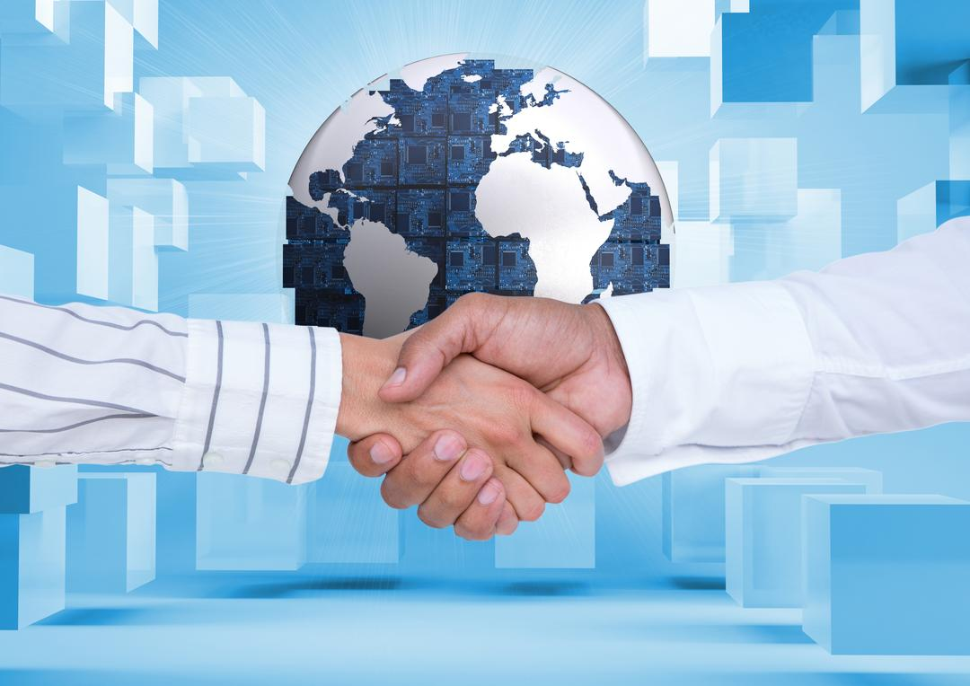 Business executives shaking hands against digitally generated background