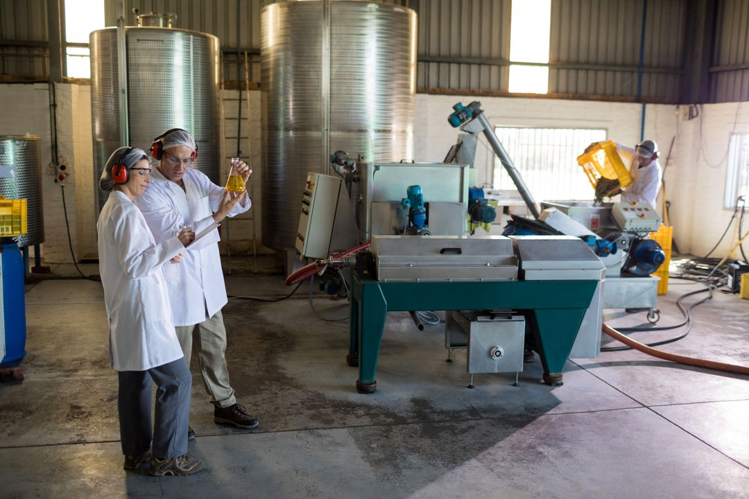 Technicians examining olive oil in factory