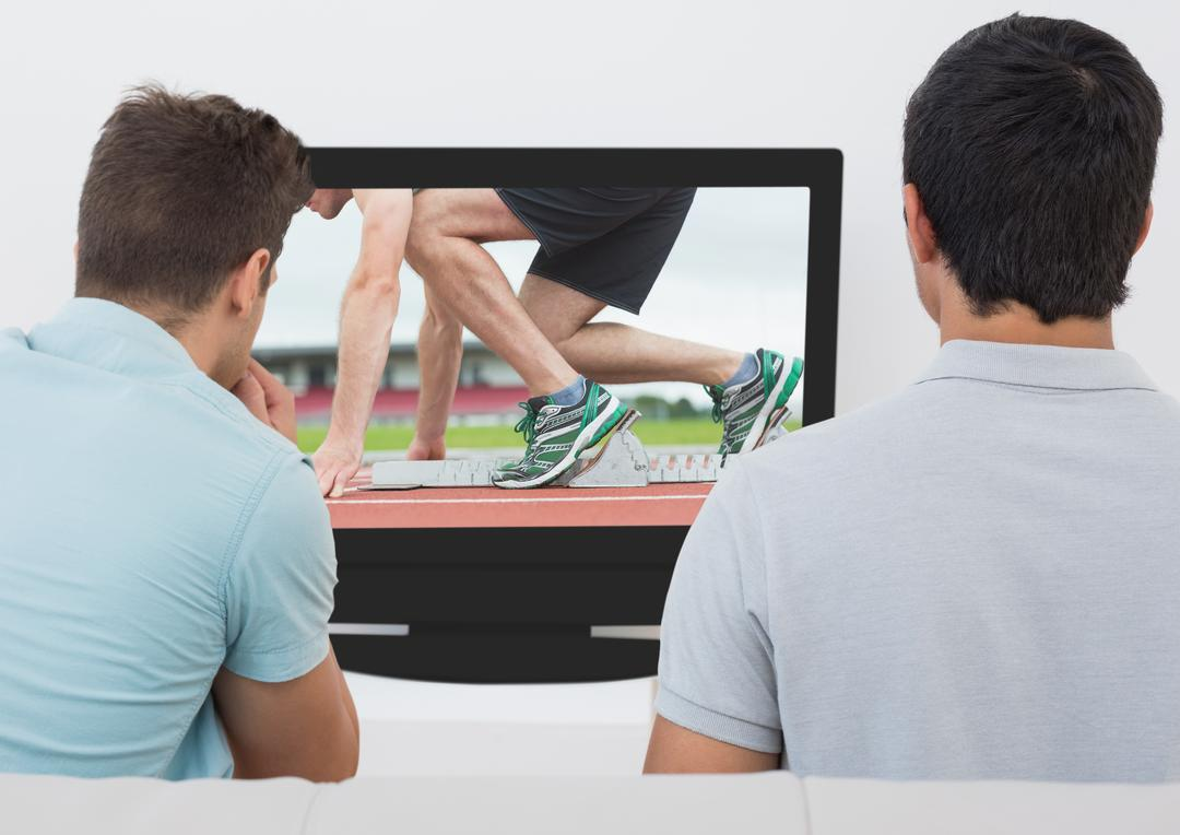 Digital composition of two men watching athletics  on TV screen Free Stock Images from PikWizard