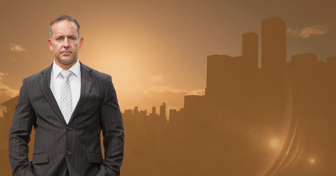 Digital composition of businessman standing with hands in pockets against cityscape in background