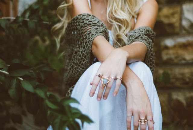 Girl fashion hands rings