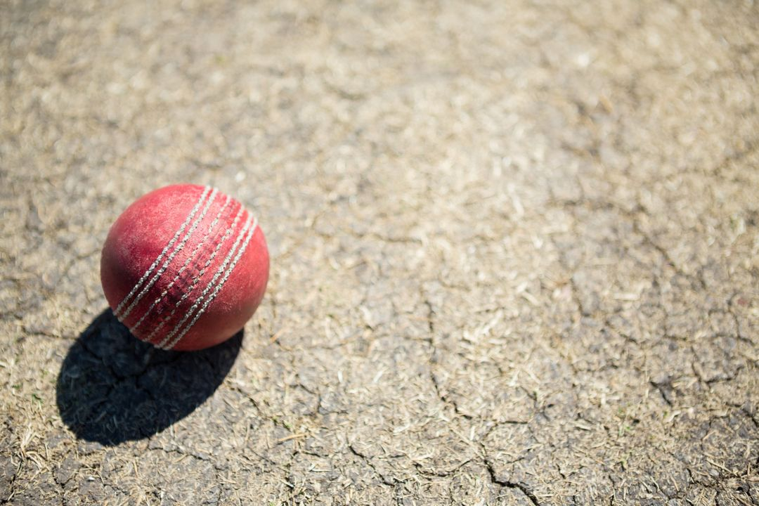 High angle view of cricket ball on pitch during sunny day Free Stock Images from PikWizard