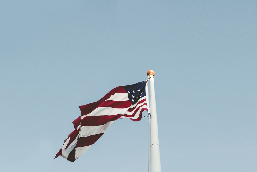 U.s. Flag and White Pole