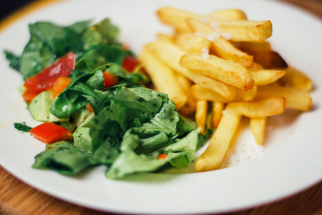 French fries with salad