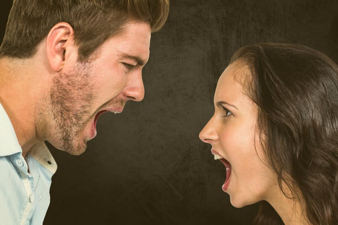 Digital composite of Angry couple shouting at each other