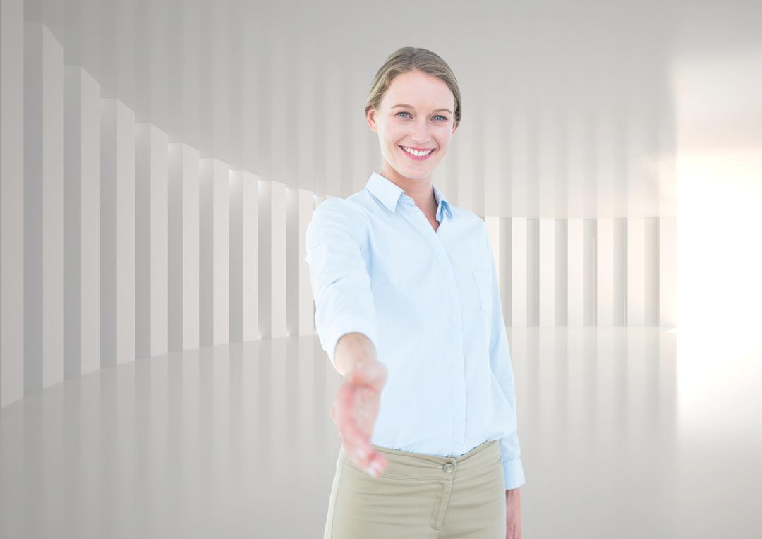 Digital composition of smiling businesswoman offering her hand for a handshake against white grey background Free Stock Images from PikWizard