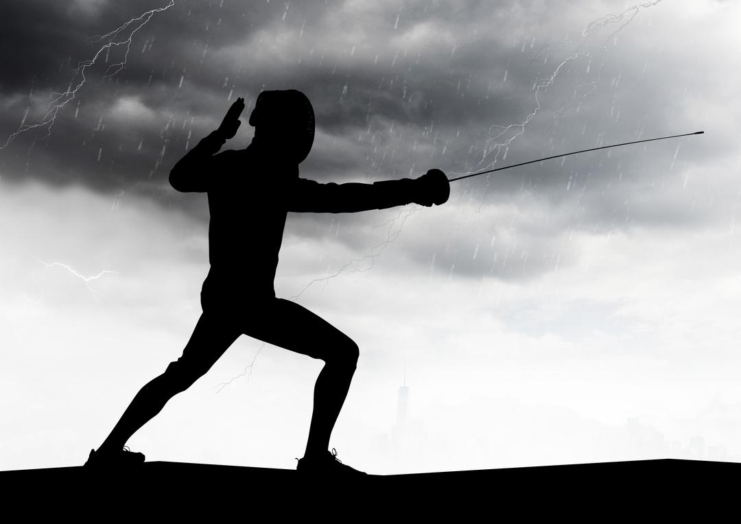 Digital composition of silhouette of player practicing fencing against rainy background