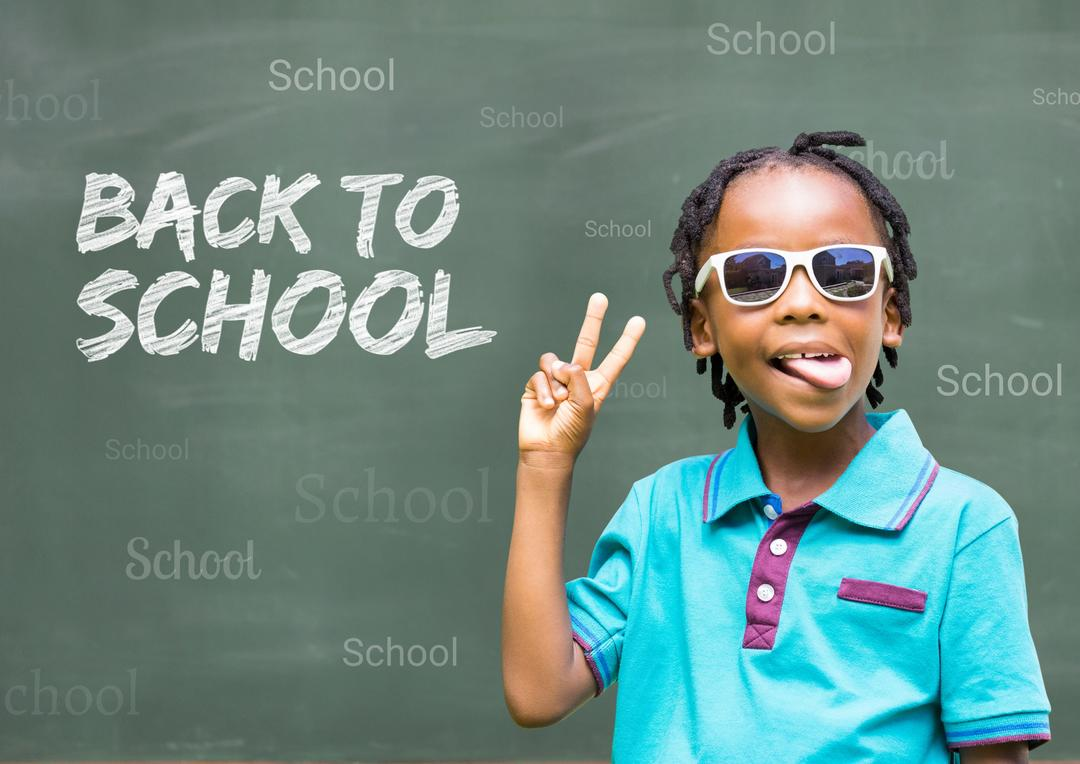 Digital composite image of schoolboy wearing sunglasses and gesturing with back to school text on chalkboard