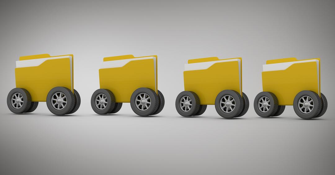 Digital composition of folder icon with wheels against grey background