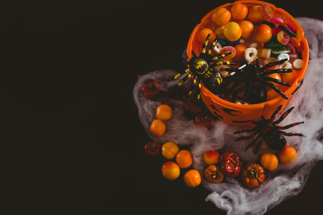 Image of a Bucket with Treats for the Kids on Halloween