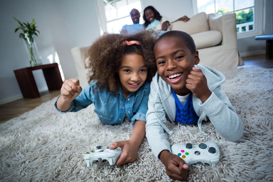 Children playing video games at home Free Stock Images from PikWizard