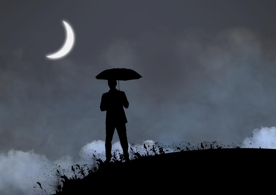 Silhouette of man holding umbrella standing on a hill with moon in sky at night